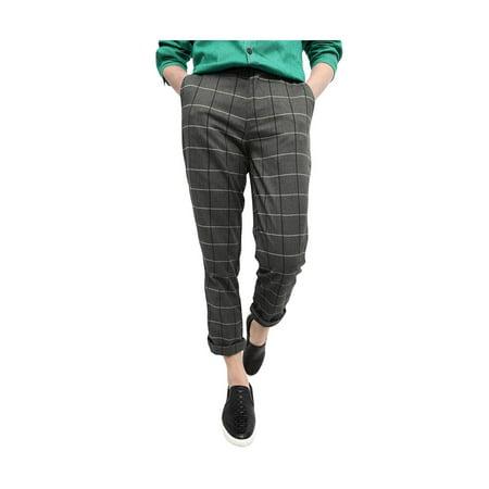 Unique Bargains Men's Mid Rise Checks Print Front Pockets Slim Fit Casual Pants Gray (Size S / W30) - image 1 de 1