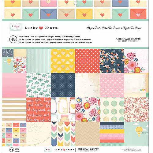 """Dear Lizzy Lucky Charm Paper Pad, 12"""" x 12"""", 48/Sheets, 24 Single-Sided Designs/2 Each"""