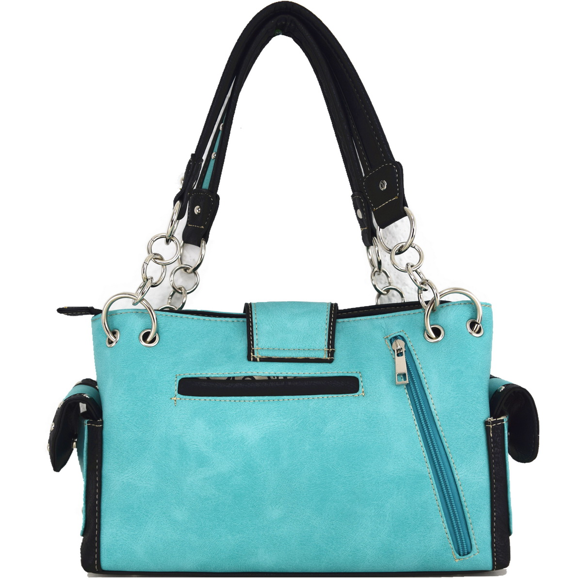 Blancho Bedding Western Rhinestone Buckle Butterfly BAG TURQUOISE