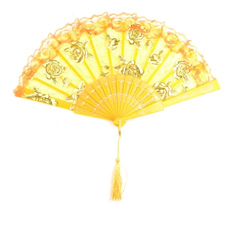 Women Plastic Frame Rose Pattern Folding Dancing Hand Fan Orange 23.8cm Length](Folding Hand Fan)