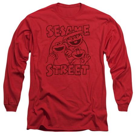 Sesame Street Group Crunch Mens Long Sleeve Shirt