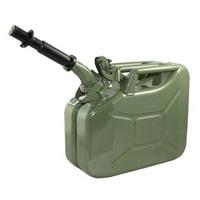 Wavian 3013 2.6 Gallon 10 Liter Steel Gasoline Fuel Jerry Can w/ Spout, Green