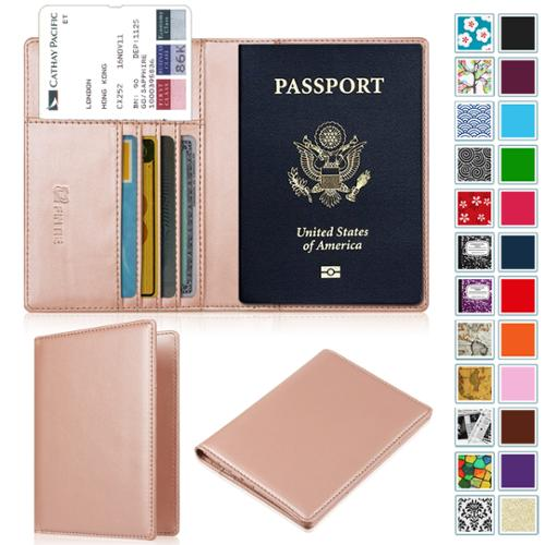 Leather Passport Holder Wallet Cover Case RFID Blocking Travel Wallet Beach Beautiful Landscape