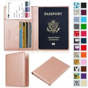 Passport Holder Travel Wallet RFID Blocking Case Cover - Securely Holds Passport, Boarding Passes