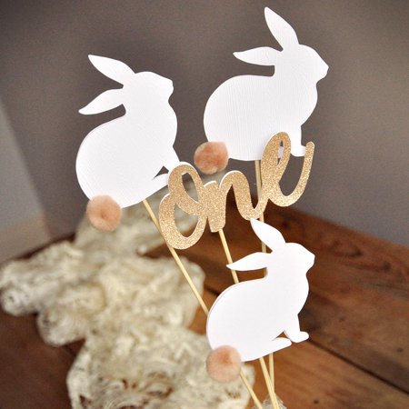 First Birthday Peter Rabbit Centerpiece (4 Piece Set). Bunny Party Favor Wands.