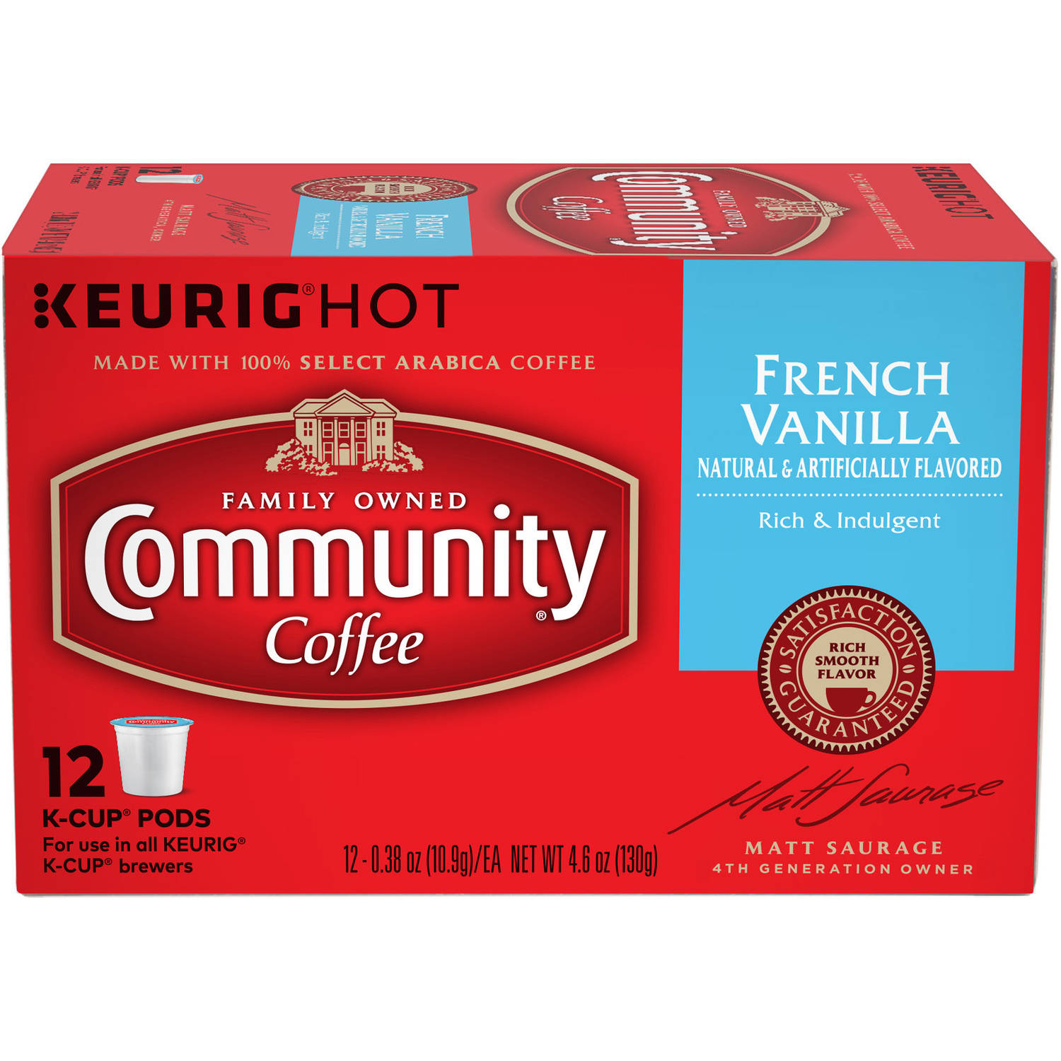 Community Coffee French Vanilla Medium-Dark Roast Coffee Single Serve Coffee Cups, 12 count, 4.65 oz
