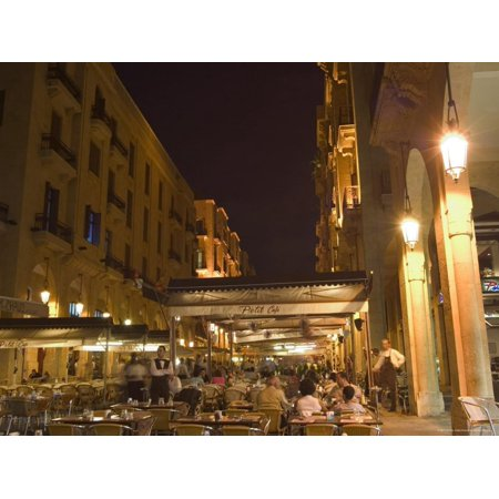 Street Side Cafe Area, Place d'Etoile (Nejmeh Square) at Night, Downtown, Beirut, Lebanon Print Wall Art By Christian (Seattle To Lebanon)