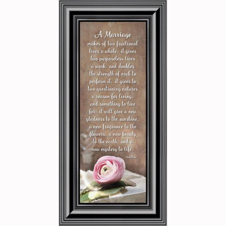 A Marriage, Mark Twain Poem, Picture Framed Wedding Gift for Bride and Groom, 6x12 (Wedding Poems For Bride And Groom From Friends)