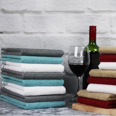 Mainstays 16 Pack Fashion Bar Mop Kitchen Towel Pack in Solid and Stripe