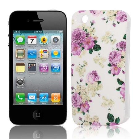 Unique Bargains Fuchsia Flower Pattern Soft Plastic Cover Case for Apple iPhone 4 4G