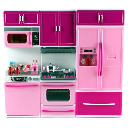 My Happy Kitchen Dishwasher Oven Refrigerator Battery Operated Toy Doll Kitchen Playset w/ Lights, Sounds, Perfect for Use with 11-12