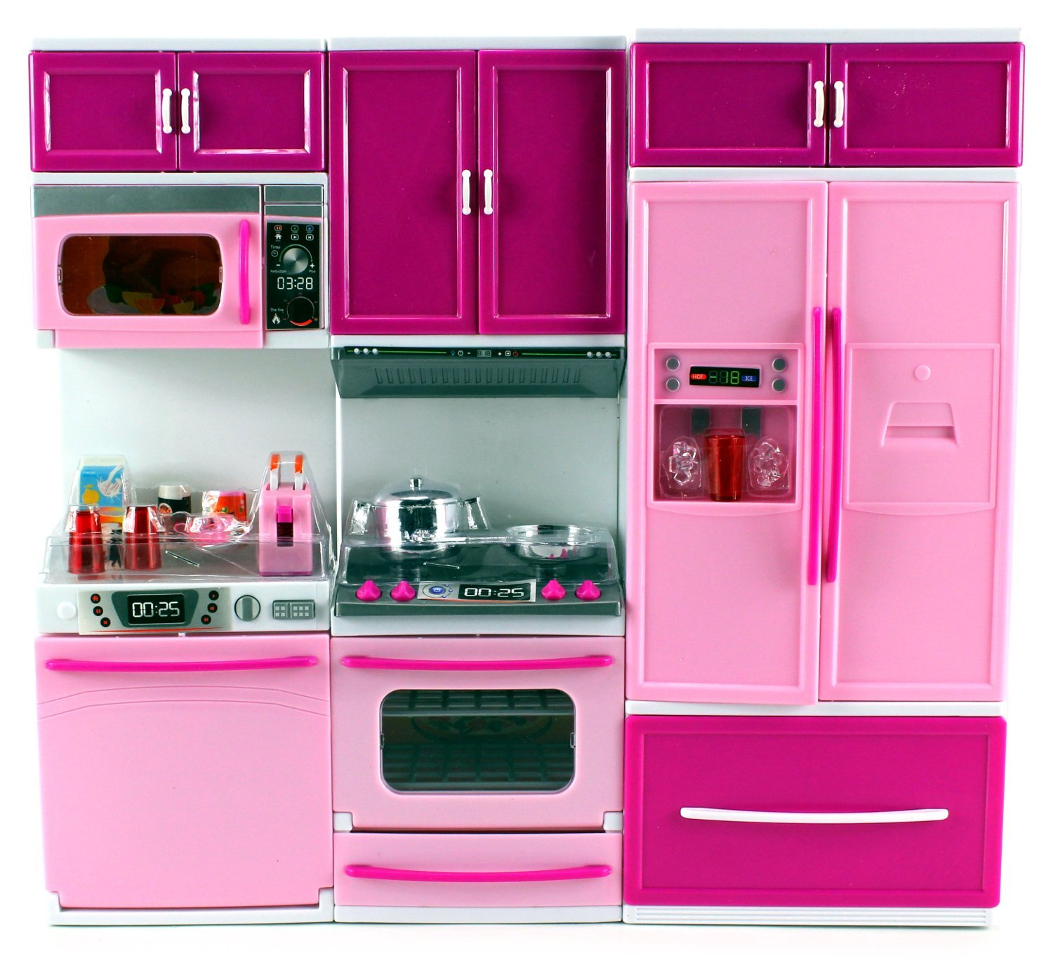 "My Happy Kitchen Dishwasher Oven Refrigerator Battery Operated Toy Doll Kitchen Playset w/ Lights, Sounds, Perfect for Use with 11-12"" Tall Dolls"