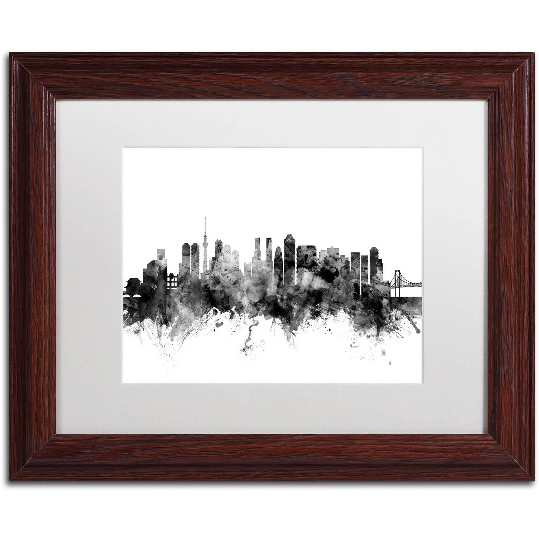 "Trademark Fine Art ""Tokyo Japan Skyline B&W"" Canvas Art by Michael Tompsett, White Matte, Wood Frame"