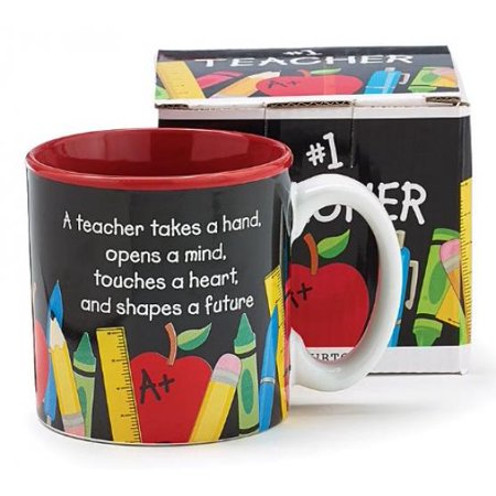 #1 Teacher 13 oz Coffee Mug with Pencil, Rulers, Crayons, and Pen Accents Inexpensive Teacher's - Biology Teacher Coffee Mug