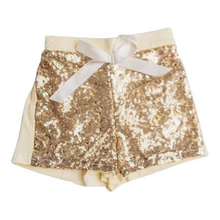 Think Pink Bows Girls Yellow Gold Sparkle Sequined Sunshine Shorts](Girls Gold Sequin Shorts)