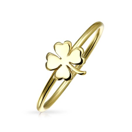 Minimalist 14K Gold Plated 925 Sterling Silver Irish Shamrock Four Leaf Clover Midi Knuckle 1MM Band Stackable