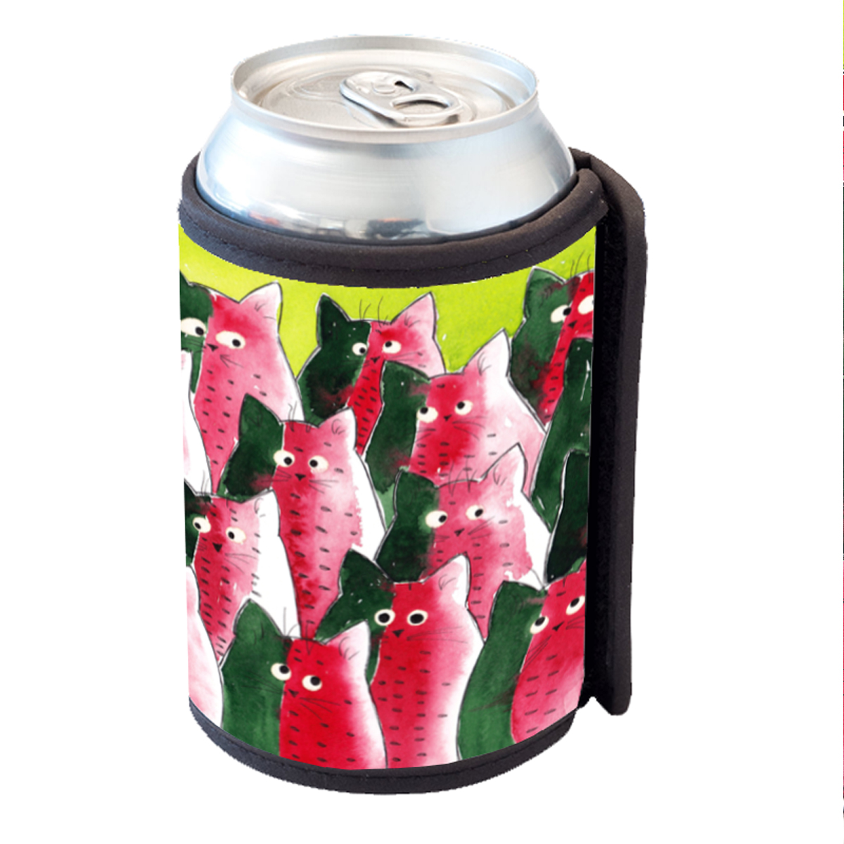KuzmarK Insulated Drink Can Cooler Hugger - Watermelon Kitties Abstract Cat Art by Denise Every