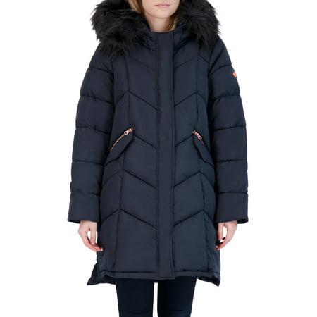 Jessica Simpson Women's Faux Hood Long Puffer Coat