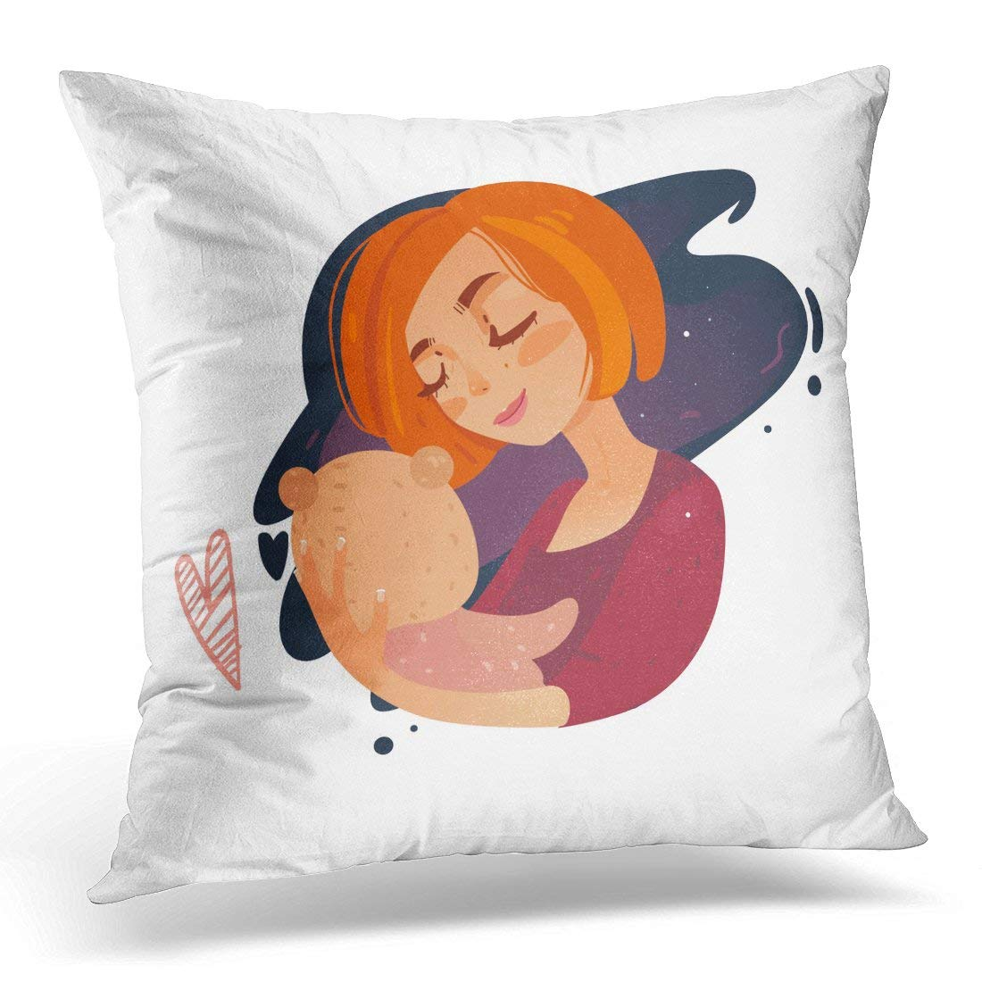 USART Blue Mom Sleep My Baby Red Kid Pillow Case Pillow Cover 18x18 inch