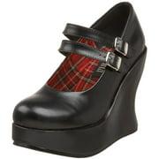 Womens Pleaser BRA08 Black High Heel Platform Wedges Mary Jane Shoes Size 6