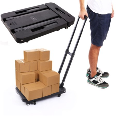424027253511 Foldable 6 Wheels Hand Trolley Extendable Flat Luggage Shopping ...