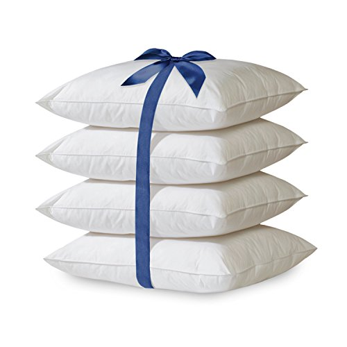 Home Sweet Home 4-Pack Hypoallergenic Down-Alternative Embossed Dobby Stripe Bed Pillow (Standard, White)