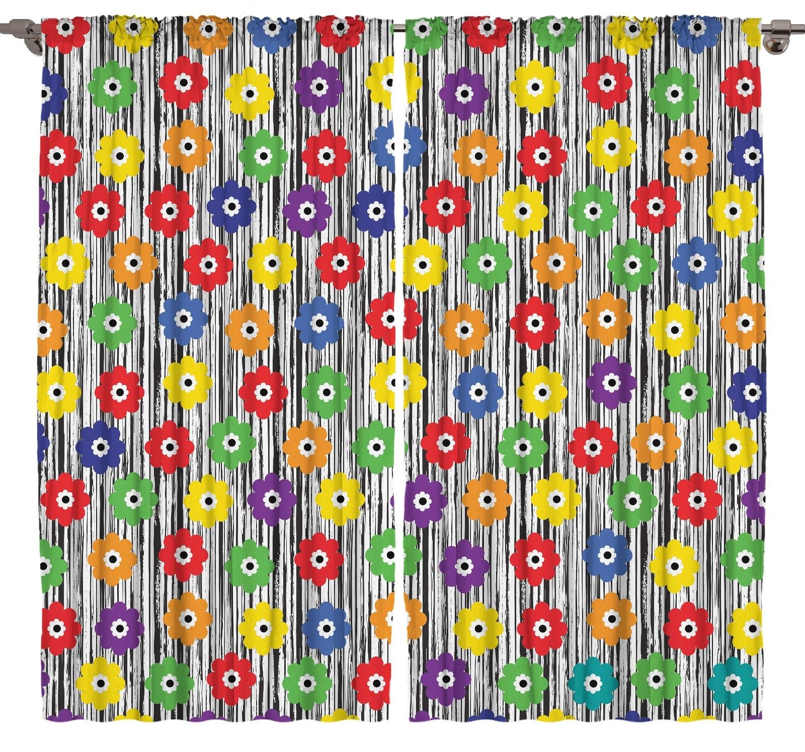 Colorful Flowers Living Room Curtains 2 Panel Set  Silky Satin Window Treatment