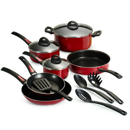 Tramontina Everyday 13 Piece Non-Stick Cookware Set, Red
