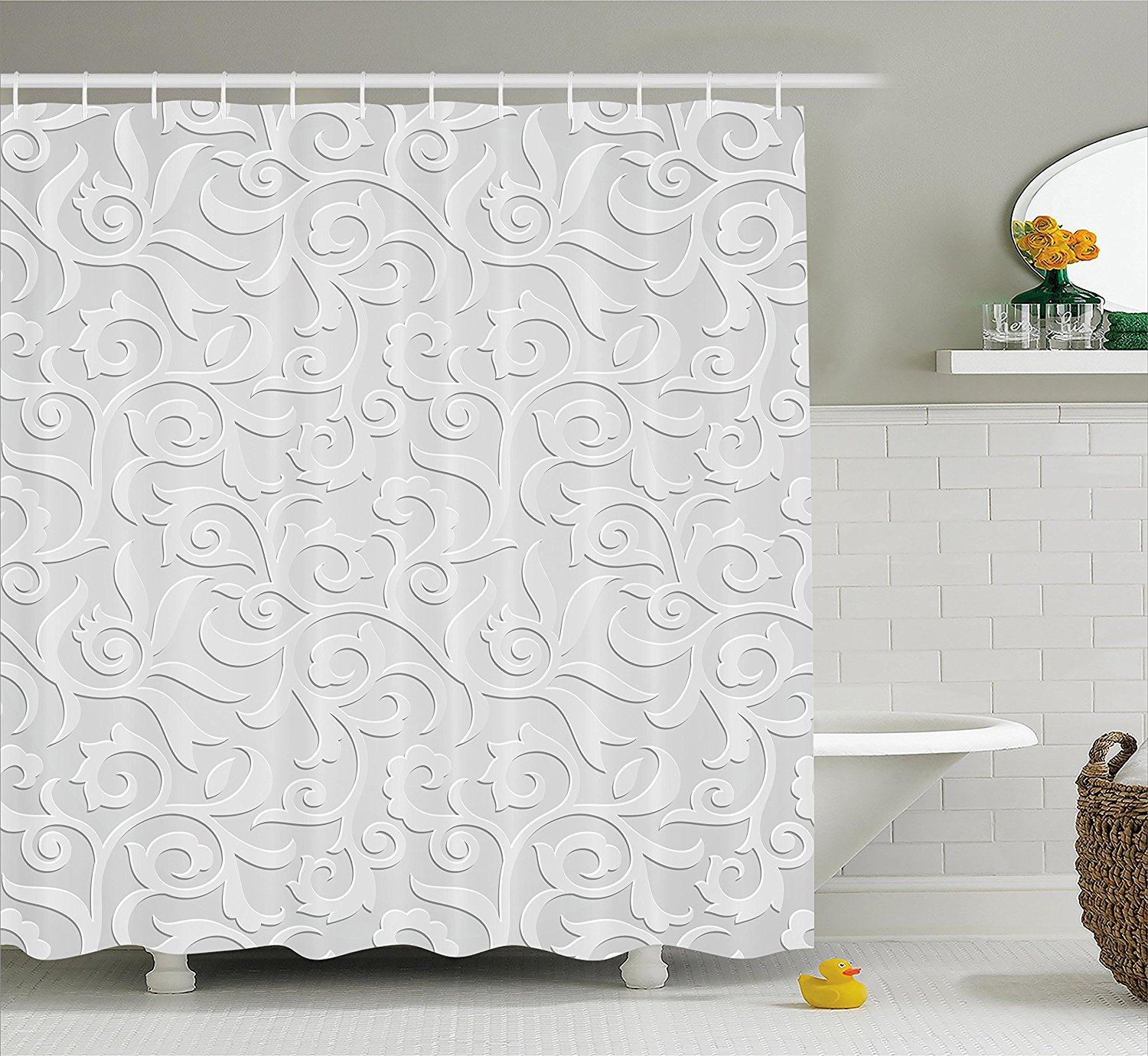 Country Decor Shower Curtain Set by , Waterlilies Flowers and ...