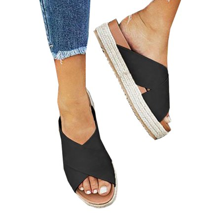 Womens Wedge Flatform Sandals Summer Open Toe Espadrilles Beach Shoes