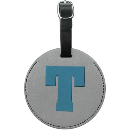 Letter T Initial Baby Boy Block Font Blue Shower Round Leather Luggage ID Tag