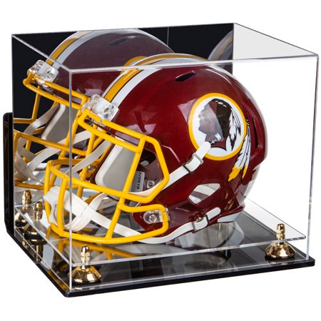 Deluxe Acrylic Football Helmet Display Case with Mirror, Wall Mount, Gold Risers and Clear Base (A002-GR) ()