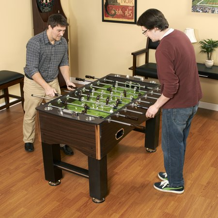 Primo 56 Inch Foosball Table  Family Soccer Game With Wood Grain Finish  Analog Scoring And Free Accessories
