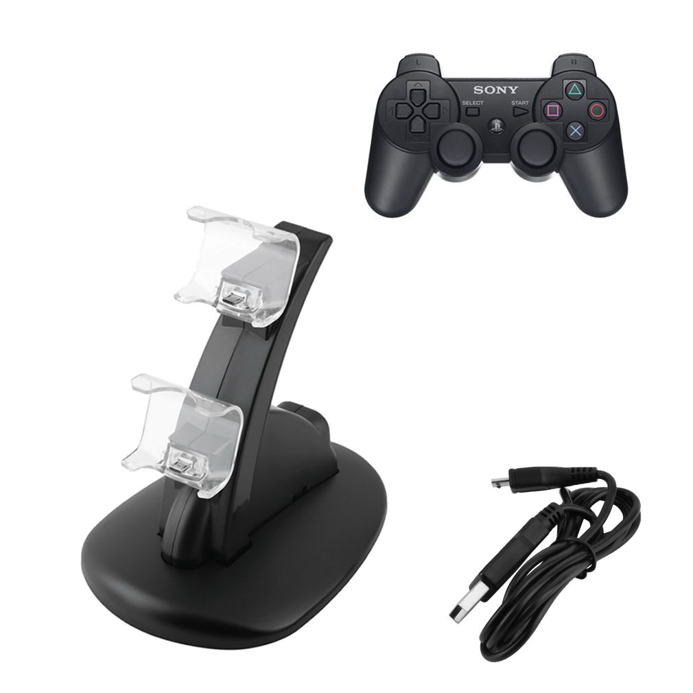 LESHP - LED Dual USB Charger Docking Station for Playstation of PS4 Gamepad Joystick