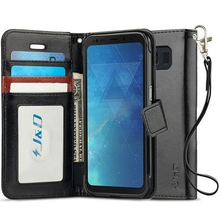 Galaxy S8 Active Case, J&D [RFID Blocking Wallet] [Slim Fit] Heavy Duty Protective Shock Resistant Flip Cover Wallet Case for Samsung Galaxy S8 Active - Black