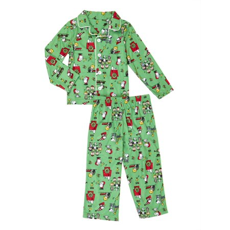 snoopy and friends christmas button up coat style classic pajamas 2pc set toddler boys walmartcom - Walmart Christmas Pajamas