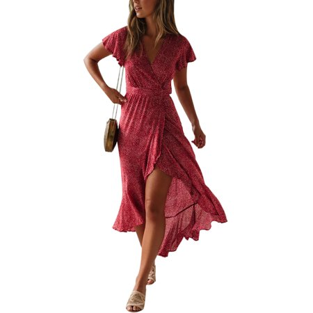 Boho Beach Floral Polka Dot Printed Maxi Dress For Women Casual Ladies Wrap Summer Paisley Ruffled Irregular Strap Holiday Long Sundress](I Love Lucy Polka Dot Dress)