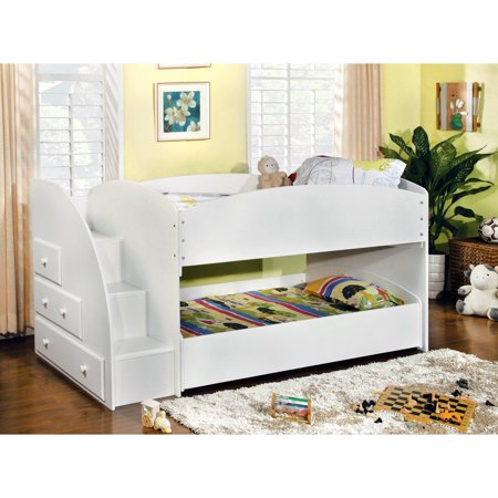Furniture Of America Ridge Adjustable Twin Over Twin Bunk Bed With Drawers