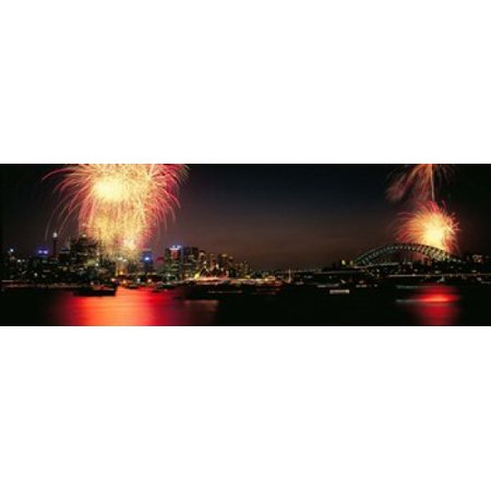 Firework display at New years eve in a city Cremorne Point Sydney New South Wales Australia Canvas Art - Panoramic Images (18 x 6) - Sydney City Halloween