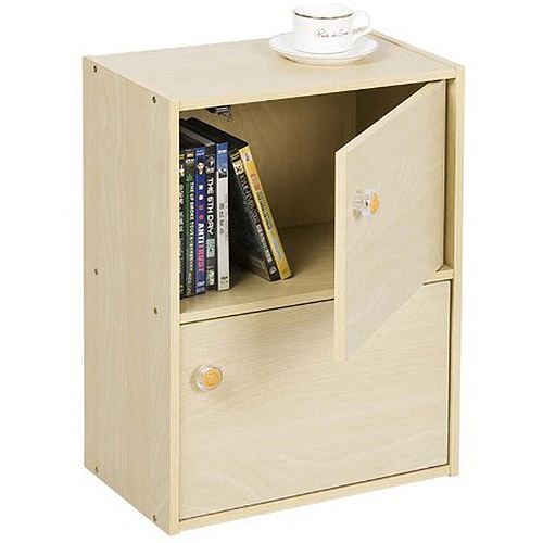 Furinno 11201SBE Pasir 2-Tier Bookcase with 2 Doors with Round Handle, Steam Beech