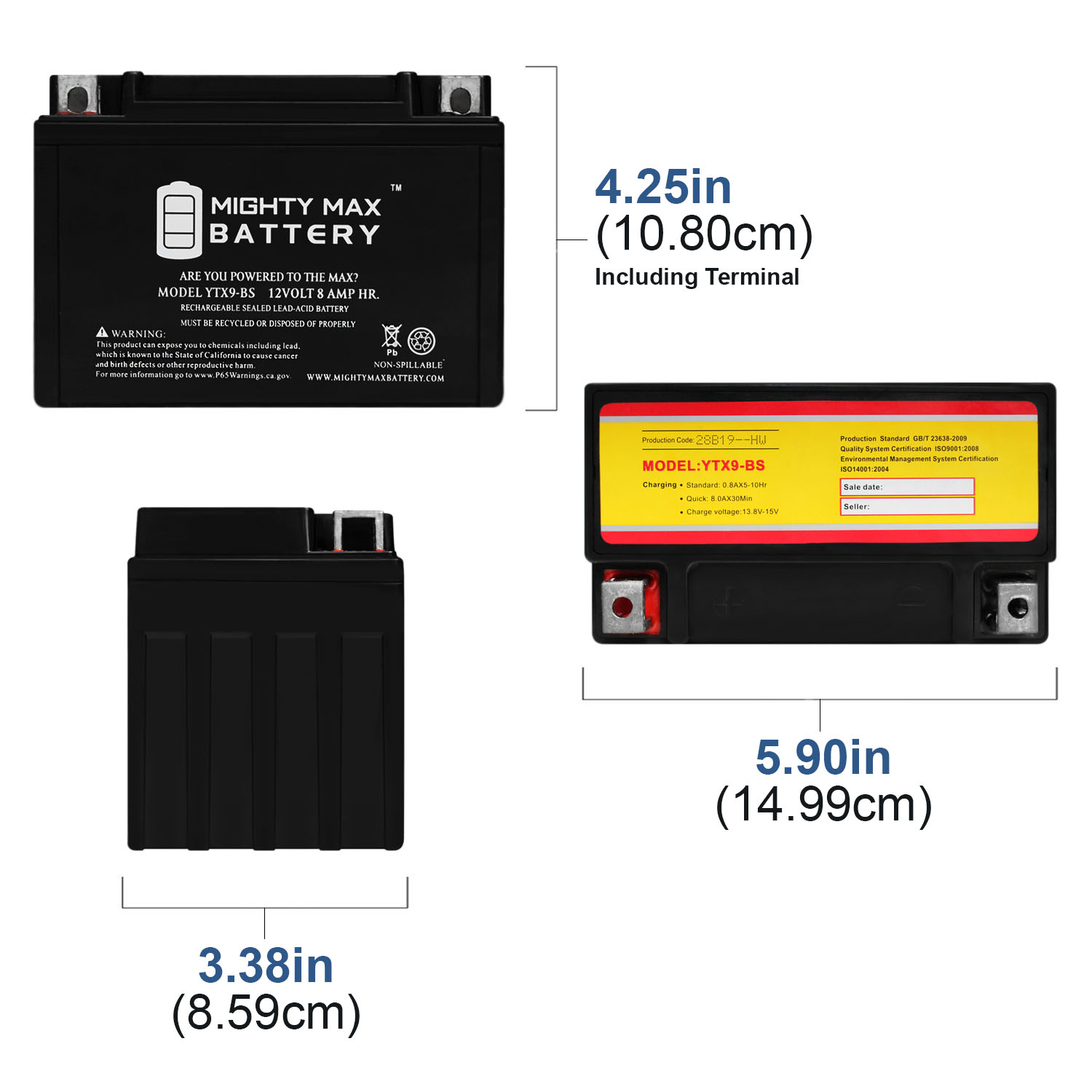 YTX9-BS Replacement for Suzuki GSX600F Katana Motorcycle Battery