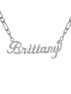 Personalized Diamond Cut Nameplate Necklace with Figaro Chain