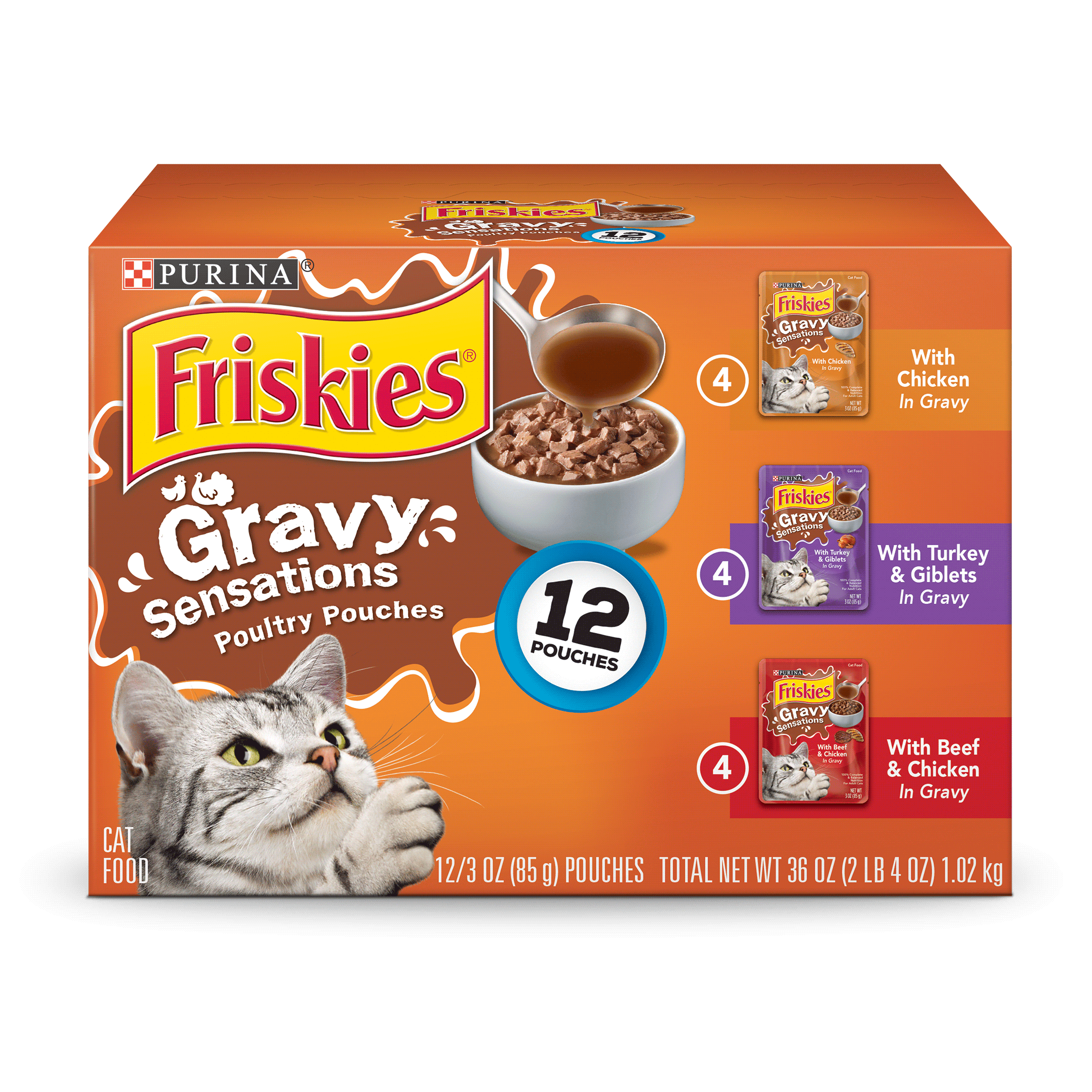 (12 Pack) Friskies Gravy Sensations Poultry Favorites Adult Wet Cat Food Variety Pack, 3 oz. Pouches by Nestle Purina Petcare Company