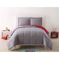 My World Solid Grey and Red Reversible 3 Piece Twin XL Comforter Set