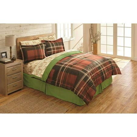 Red & Green Plaid, Bears & Deer, Mountain Cabin Queen Comforter Set (8 Piece Bed in A Bag)
