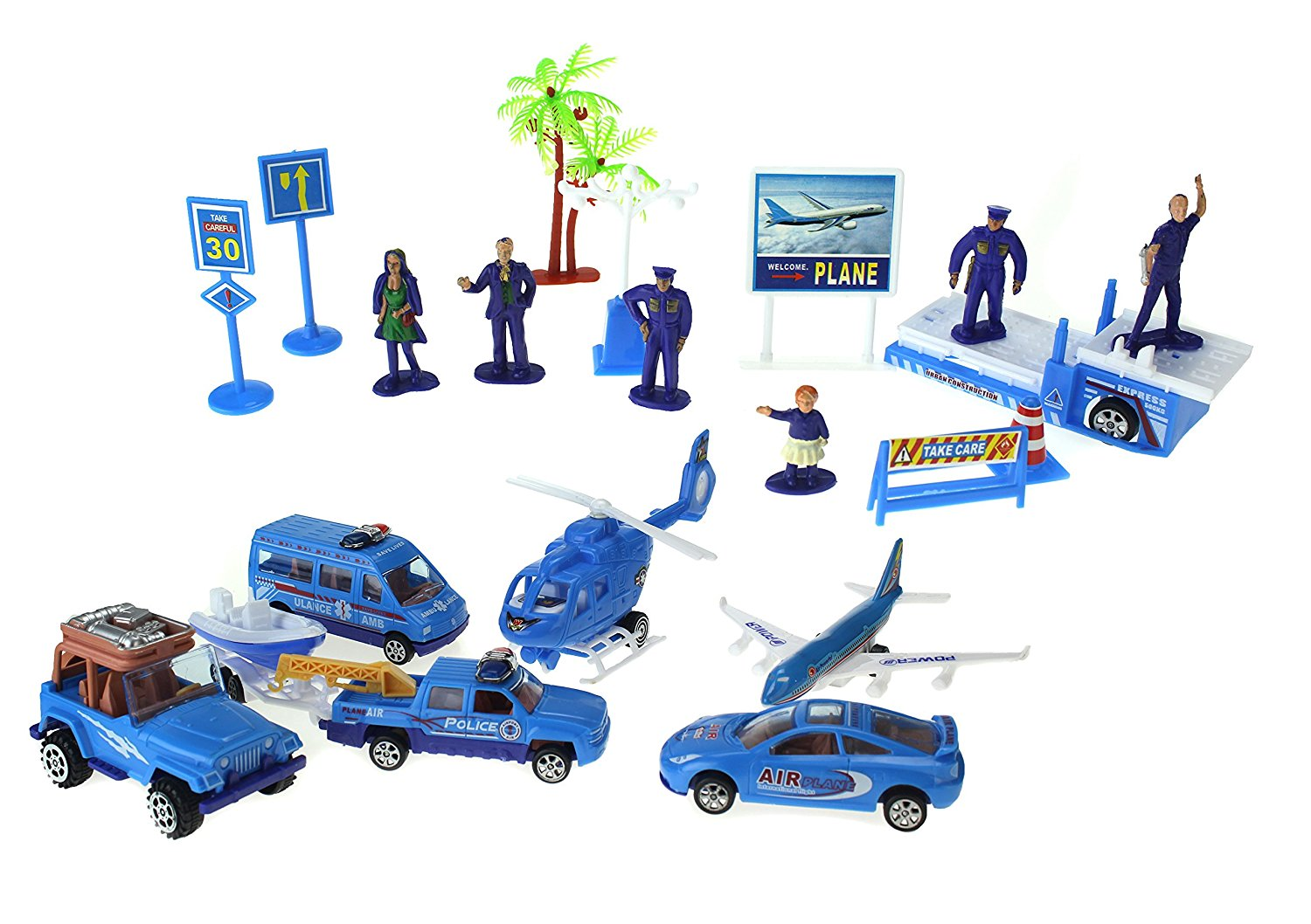 Tropical Airport Toy Vehicle Playset w  4 Car Vehicles, Helicopter, Jet, 5 Figures, &... by Velocity Toys