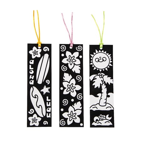 Fun Express - Cyo Fuzzy Luau Bookmarks - Craft Kits - CYO - Fuzzy - Bookmarks - 12 Pieces (Luau Crafts)
