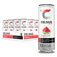 CELSIUS Sparkling Watermelon Fitness Drink, Zero Sugar, 12oz. Slim Can, 12 Pack