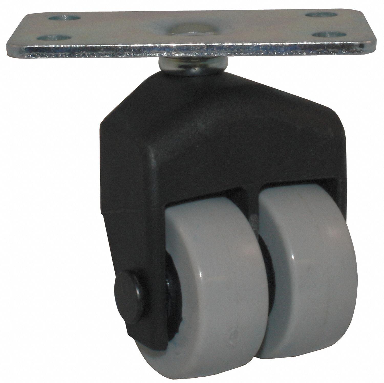 "1-1/2"" Light-Duty Rigid Plate Caster, 150 lb. Load Rating"