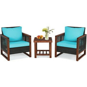 Topbuy 3-Piece Patio Rattan Bistro Set Acacia Wood Frame Sofa and Side Table Turquoise